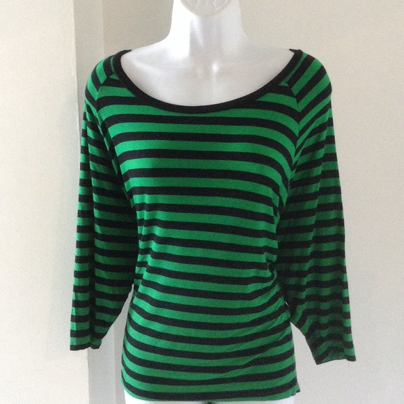 10e3353329 Michael Kors Tops | Green And Black Stripe Shirt Size M | Poshmark