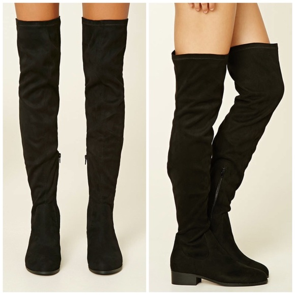 3666895291d Forever 21 Shoes | Thigh High Black Faux Suede Boots | Poshmark