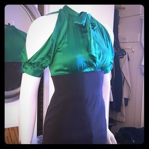 Navy & emerald 2fer silk pencil cold shoulder