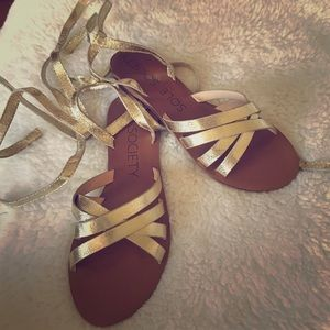 NWOT Sole society gold lace up sandals