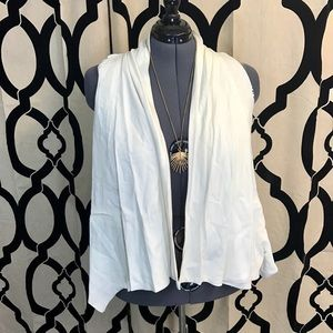 F21 Silky Cheetah Lined Waterfall White Vest