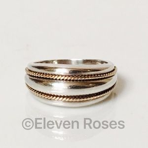 Tiffany & Co. Sterling & 14k Gold Ribbed Dome Ring