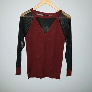 Burgundy sweater with Mesh detail