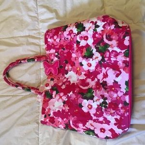 Floral butterfly pink tote bag