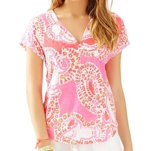 NWT Lilly Pulitzer linen duval top trunk in love