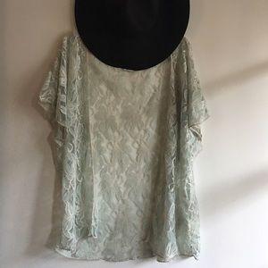 Blue Bird Tops - Aqua sheer lace open blouse