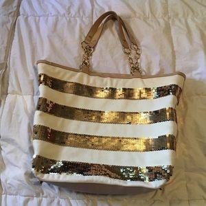IMAN gold sequin tote bag