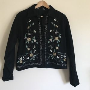 New Directions Jackets & Blazers - New directions L black wool floral appliqué jacket
