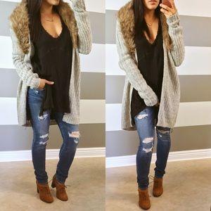 Sweaters - Faux fur heather gray cardigan