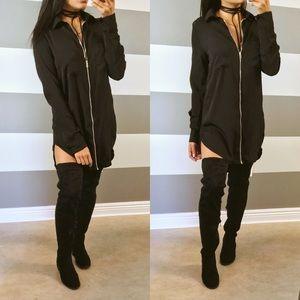 Dresses & Skirts - Black oversized zip tunic shirt dress