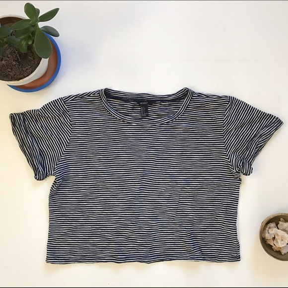 aeff149e25feec Forever 21 Tops | Basic Striped Jersey Knit Tee Oversized Cropped ...