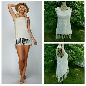 Listicle Fringe Crocheted Tank