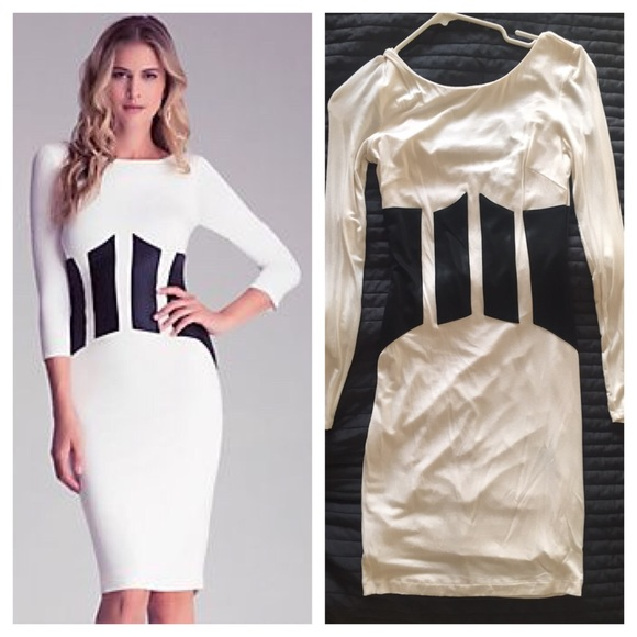 Bebe Dresses Winter White Black Patch Midi Dress Small Poshmark