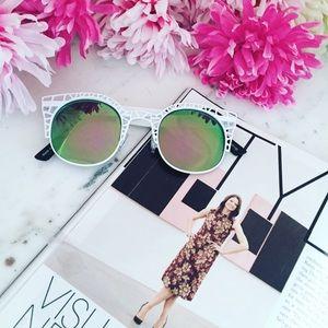 "Erica Rose Accessories - ""Aurora"" Sunglasses    White & Green/Purple Mirror"