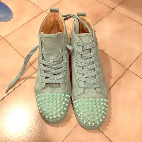 online retailer 0c8b5 24bba Mint Suede Louboutin Sneakers NWT