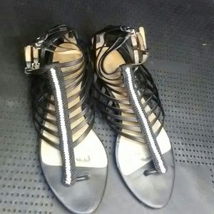 L.A.M.B. Shoes - L.A.M.B. lSandals Gladiator Black and White Sz 7.5