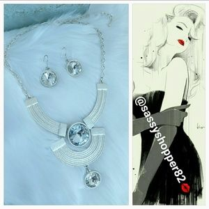 Painted Silver Necklace and earrings set