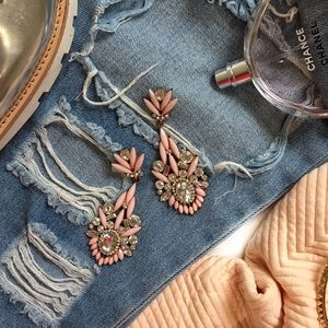 Pink Jeweled Statement Earrings