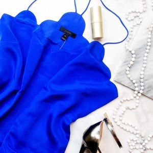 Cobalt Silk Scalloped Cami