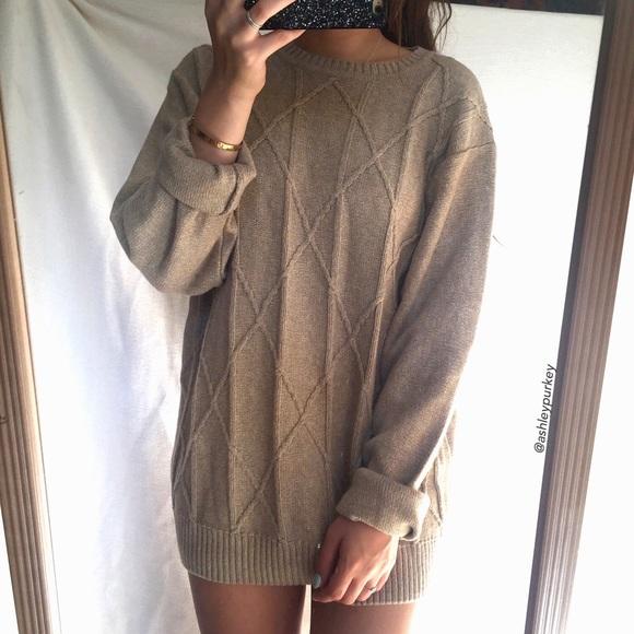 Geoffrey Beene - SOLD light brown diamond knit oversized sweater ...