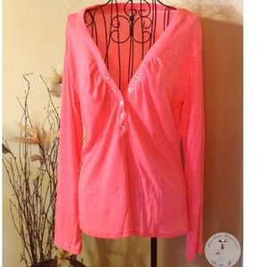 Tops - Button Front V Neck Long Sleeve T