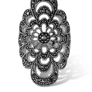 Jewelry - Black Marcasite Micro-laser Flower Statement Ring