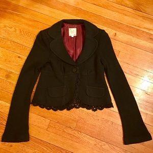 Nanette Lepore Jackets & Blazers - Nanette Lepore Wool Lace Trim Collared Jacket