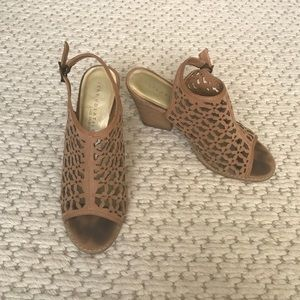 Anthropologie Shoes - Suede cut out tan heels