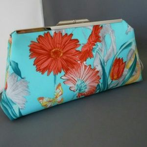 Handbags - Turquoise and red evening clutch purse