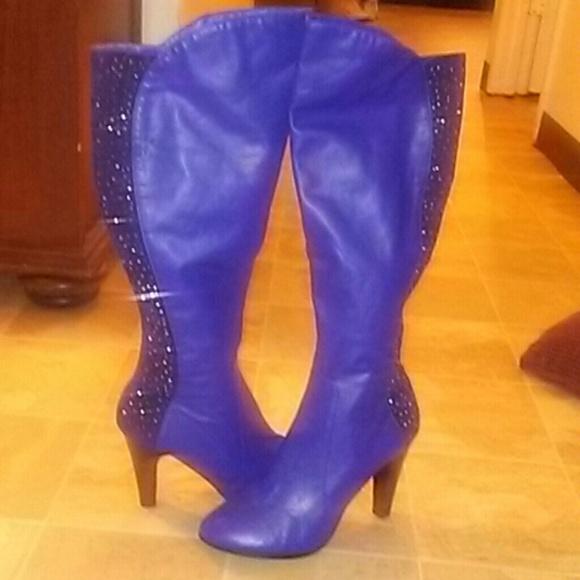 Midnight Velvet Shoes | Tall Royal Blue