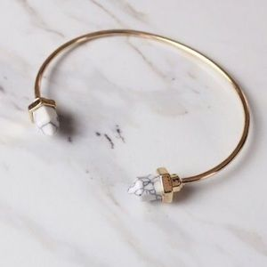 Natural Stone Marble Minimalist Gold Bracelet Cuff