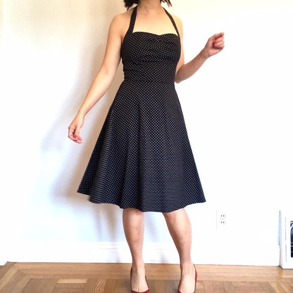 Q Pomegrante Dresses & Skirts - Polka Dot Halter Fit & Flare Dress