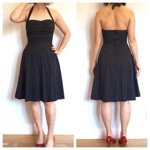 Q Pomegrante Dresses - Polka Dot Halter Fit & Flare Dress