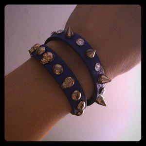 Spike & Rhinestone Skull Leather Wrap Bracelet