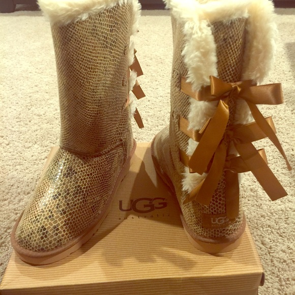 Ugg Shoes Brown Snakeskin Bailey Bow Boots Poshmark