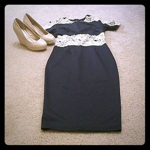 AX Paris Dresses & Skirts - Navy with cream lace bodycon midi dress!!