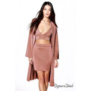 d13637181d7e9 Boohoo Dresses - ⛔️SOLD ebay⛔️Silky satin 3 piece nude co-ord set
