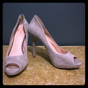 BCBGeneration Gray Peep Toe Heels