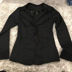 New black blazer with lace flower detail S