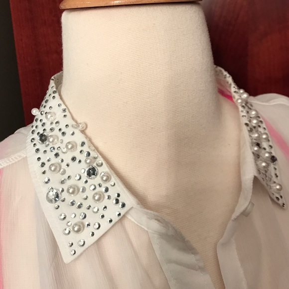 a133586b6e58b7 Abercrombie   Fitch Tops - Rhinestone   pearl embellished sheer collar  blouse