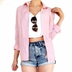 DVF pink button down