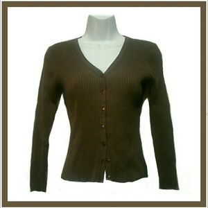 Cable & Gauge Sweaters - Brown Button Front Cardigan