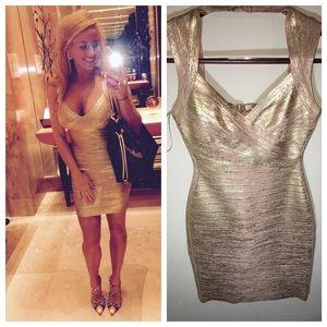 """Herve Leger Dresses & Skirts - Herve Leger """"Iman"""" Gold Champagne Dress"""