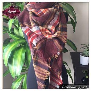 Beautiful plaid fringe cashmere blend knit scarf
