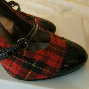 Bakers Shoes - Red and black plaid heels -make me an offer :)