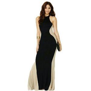Elegant dress Plus Size Two Tone Maxi Black?Dress