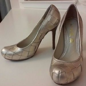 L.A.M.B. Shoes - L.A.M.B. Silver Metallic Stiletto Heels Size 6.5