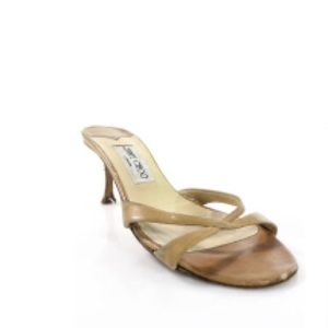 JIMMY CHOO TAN LEATHER CRISS-CROSS MULES 8.5