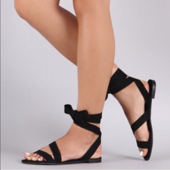 416c5ba0c Cici Hot Shoes - Bundle Faux Suede Wrap Round Sandals