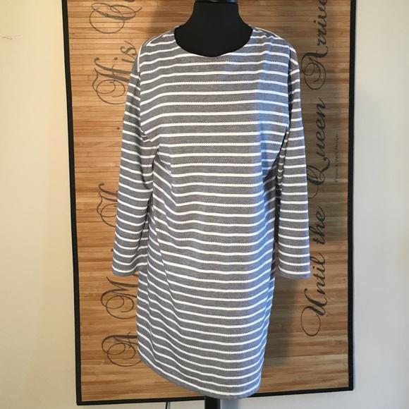 3647700c389 STS Sail to Sable navy knit stripe long slv dress